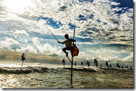 竹馬漁法・スリランカ。